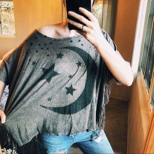 Gray Boho Indie Baggy Shirt Tassels Moon Star Cozy